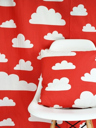 SALE - Swedish fabric Farg & Form Clouds - Red Living > Fabric