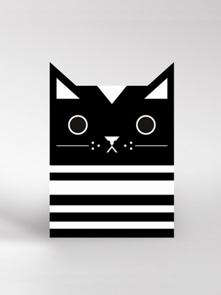 Dickybird monochrome Cat card Living > Cards and Wrapping