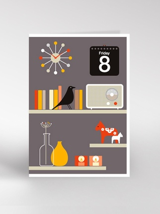 Dickybird Grey shelves card Living > Cards and Wrapping