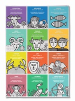 Zodiac Tea Towel by Jane Foster
