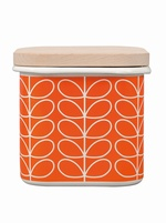 Orla Kiely Linear Stem Enamel storage tin - Persimmon